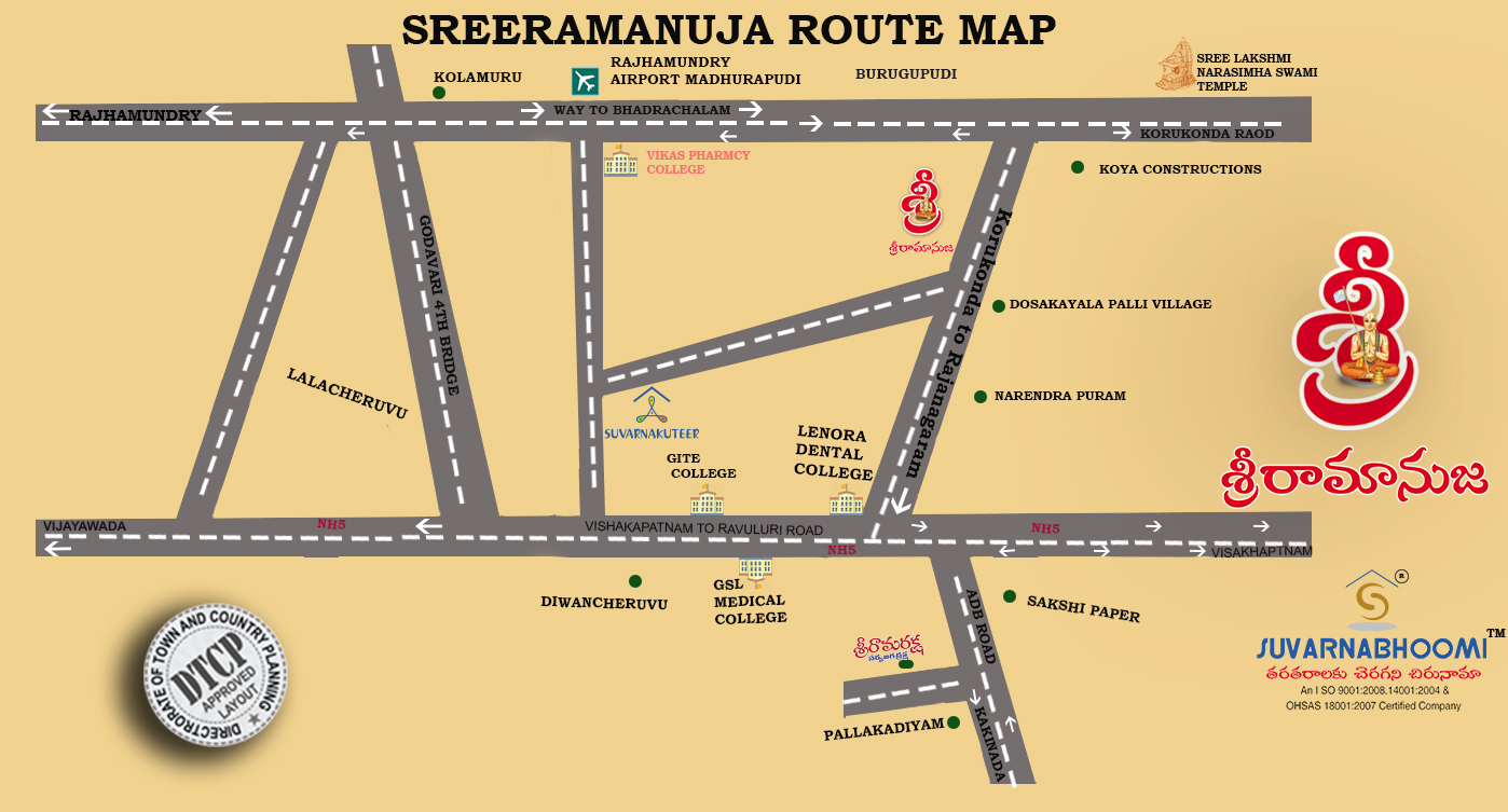 SREERAMANUJA ROUTE MAP